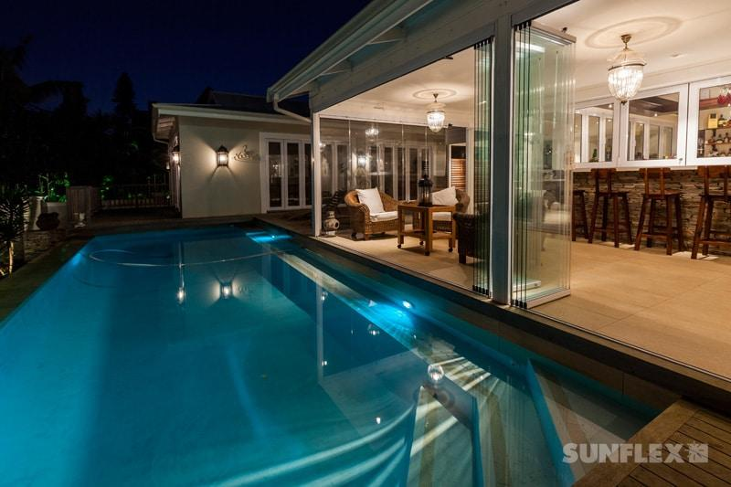 stacking frameless glass doors patio pool