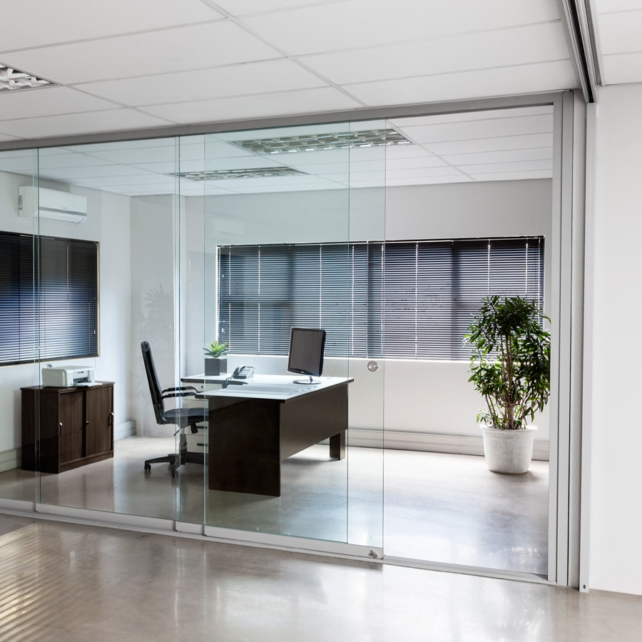 Frameless glass sliding doors - room divider