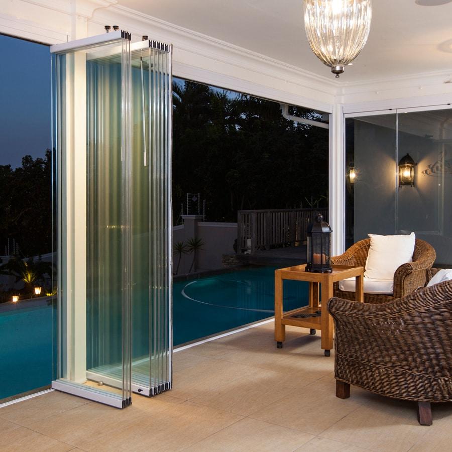 Frameless glass doors patio doors security shutters for Stacking doors