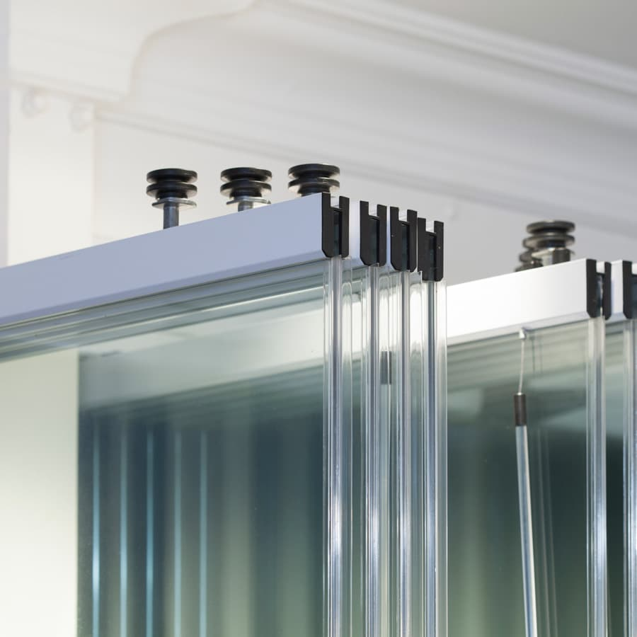 Frameless glass slide and turn system